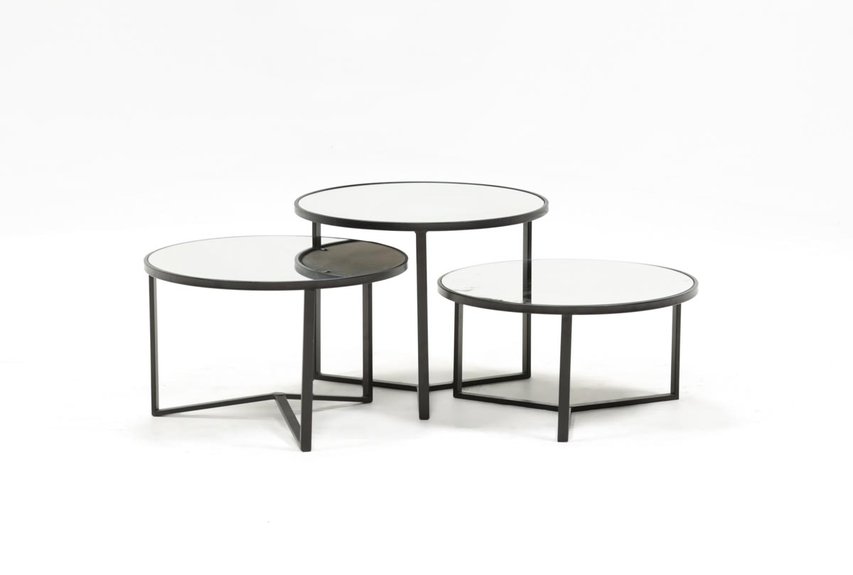 Fiona Piece Bunching Coffee Table Set Living Spaces - 3 piece oval coffee table set