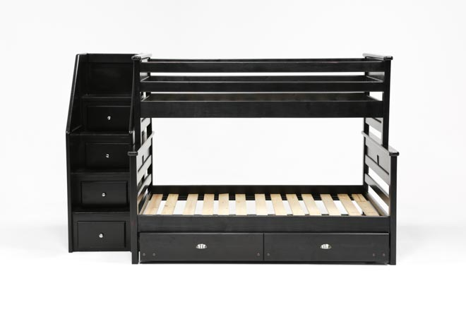 Summit Blk Twin Over Full Bunk Bed With Trundle/Matt & Stair Chest - 360
