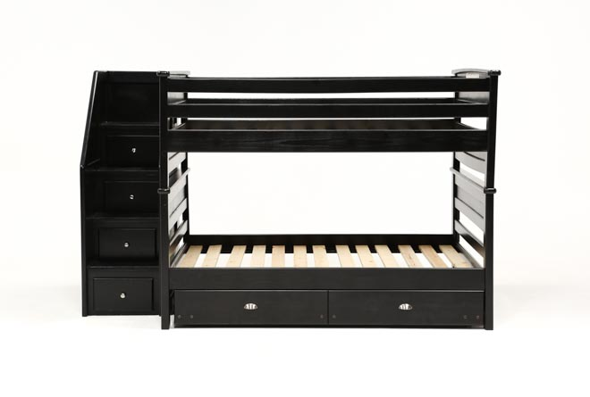 Summit Blk Full Over Full Bunk Bed With Trundle/Matt & Stair Chest - 360