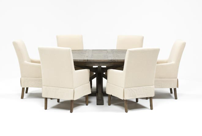 Combs 7 Piece Dining Set W/ Mindy Slipcovered Chairs - 360