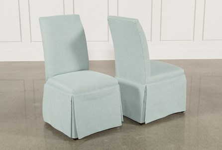 Display product reviews for GARTEN AQUA SKIRTED SIDE CHAIRS SET OF 2