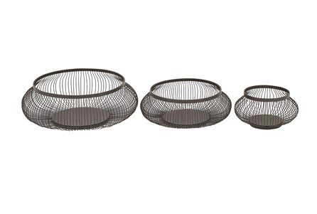 Display product reviews for 3 PIECE SET BLACK METAL BASKETS