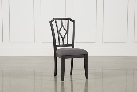 Display product reviews for CAIRA BLACK UPHOLSTERED DIAMOND BACK SIDE CHAIR