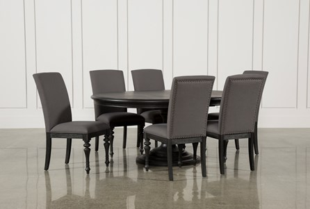 Display product reviews for KIT-CAIRA BLACK 7 PIECE DINING SET W/UPHOLSTERED SIDE CHAIRS