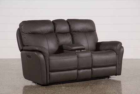 Display product reviews for BOWIE LEATHER POWER RECLINING LOVESEAT W/CONSOLE & POWER HEADREST