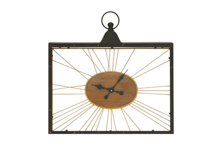 Display product reviews for METAL WOOD AND GLASS WALL CLOCK