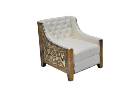 Display product reviews for OTB LINEN CHAIR W/WOOD METAL CARVING
