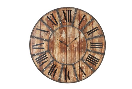 Display product reviews for 24 INCH ROUND DARK METAL WOOD WALL CLOCK