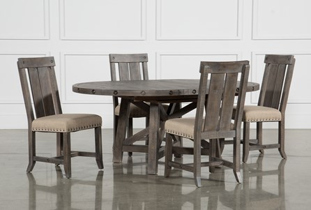 Display product reviews for KIT-JAXON GREY 5 PIECE ROUND EXTENSION DINING SET W/WOOD CHAIRS