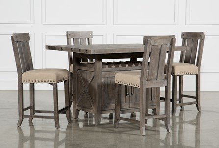 Display product reviews for KIT-JAXON GREY 5 PIECE EXTENSION COUNTER SET W/WOOD STOOLS