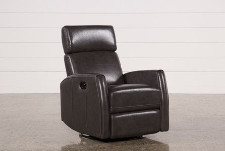 Display product reviews for LOLA GREY LEATHER SWIVEL GLIDER RECLINER W/ ADJUSTABLE HEADREST