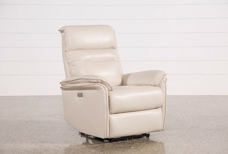 Display product reviews for LAIRD CREAM LEATHER POWER WALLAWAY RECLINER W/ ADJUSTABLE HEADREST