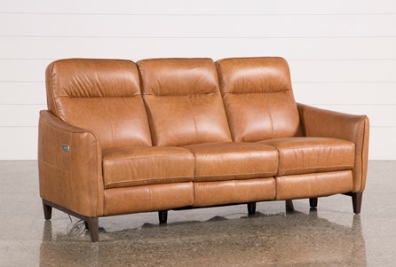 Display product reviews for TORBEN BROWN LEATHER POWER RECLINING SOFA W/USB