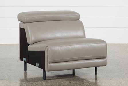 Display product reviews for THATCHER GREY LEATHER ARMLESS CHAIR