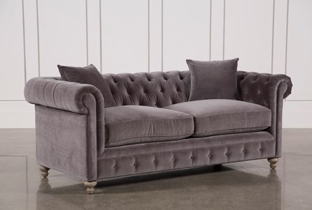 Display product reviews for MANSFIELD 86 INCH GRAPHITE VELVET SOFA