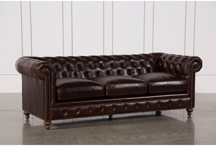 Display product reviews for MANSFIELD 96 INCH COCOA LEATHER SOFA