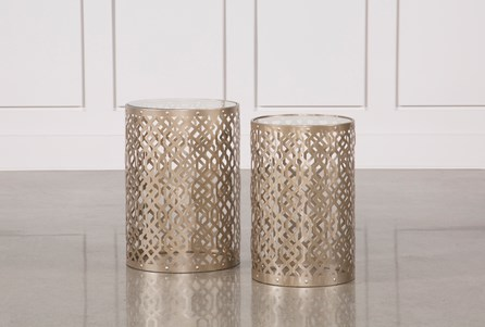 Display product reviews for 2 PIECE CHAMPAGNE METAL SIDE TABLE