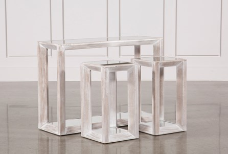 Display product reviews for 3 PIECE BEVELED MIRROR TOP NESTING TABLES