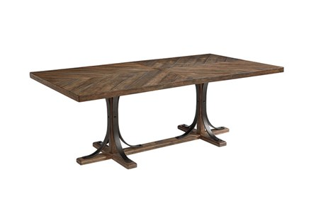 Display product reviews for MAGNOLIA HOME SHOP FLOOR DINING TABLE WITH IRON TRESTLE BJG
