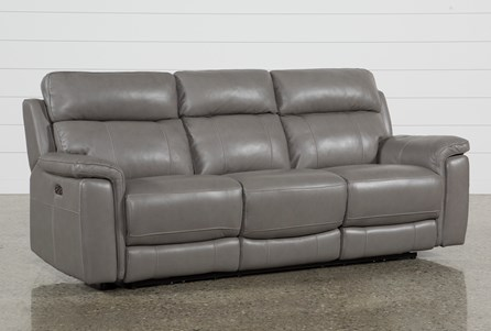 Display product reviews for DINO GREY LEATHER POWER RECLINING SOFA W/POWER HEADREST & USB