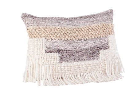 Display product reviews for ACCENT PILLOW-GREY AND TAUPE FRINGE 14X20