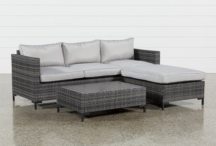 Display product reviews for OUTDOOR DOMINGO II SOFA W/REVERSIBLE CHAISE & COCKTAIL TABLE