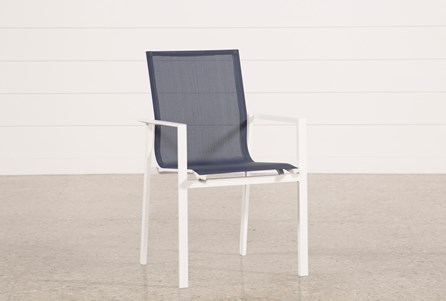 Display product reviews for OUTDOOR BISCAYNE II NAVY DINING CHAIR
