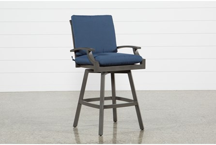 Display product reviews for OUTDOOR MARTINIQUE II NAVY SWIVEL BAR STOOL