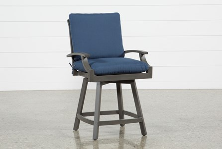 Display product reviews for OUTDOOR MARTINIQUE II NAVY SWIVEL COUNTER STOOL