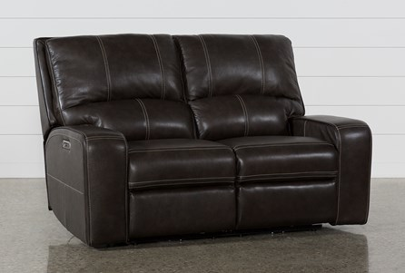 Display product reviews for CLYDE GREY LEATHER POWER RECLINING LOVESEAT W/POWER HEADREST & USB