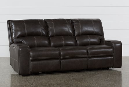 Display product reviews for CLYDE GREY LEATHER POWER RECLINING SOFA W/POWER HEADREST & USB