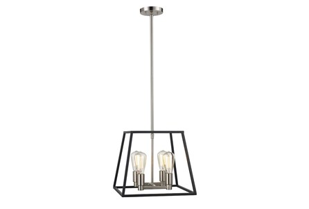 Display product reviews for PENDANT-SQUARE BLACK AND SILVER 4 LIGHT