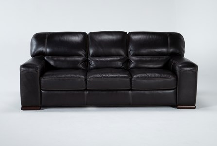 Display product reviews for GRANDIN BLACKBERRY LEATHER SOFA