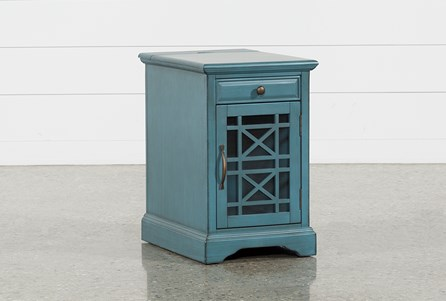 Display product reviews for ANNABELLE ANTIQUE BLUE POWER CHAIRSIDE TABLE