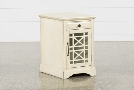 Display product reviews for ANNABELLE ANTIQUE CREAM POWER CHAIRSIDE TABLE