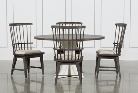 Display product reviews for KIT-CANDICE II 5 PIECE ROUND DINING SET WITH SLAT BACK SIDE CHAIRS
