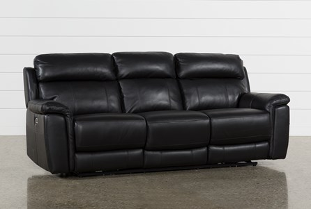Display product reviews for DINO BLACK LEATHER POWER RECLINING SOFA W/POWER HEADREST & USB