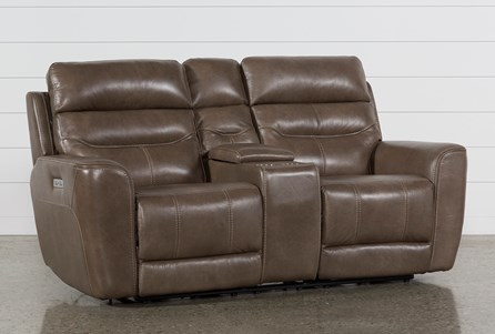 Display product reviews for CHEYENNE MOCHA LEATHER POWER RECLINING CONSOLE LOVESEAT W/PWR HEADREST