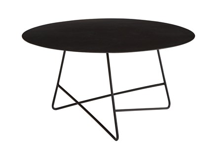 Display product reviews for MAGNOLIA HOME TRAVERSE CARBON ROUND COFFEE TABLE BJG