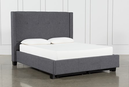 Display product reviews for KIT-DAMON CHARCOAL EASTERN KING UPHOLSTERED PLATFORM BED WITH STORAGE