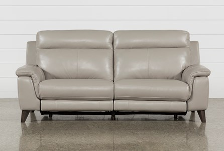 Display product reviews for MOANA TAUPE LEATHER DUAL POWER RECLINING SOFA WITH USB