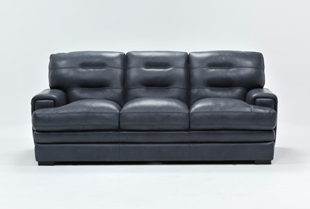 Display product reviews for GINA BLUE LEATHER SOFA