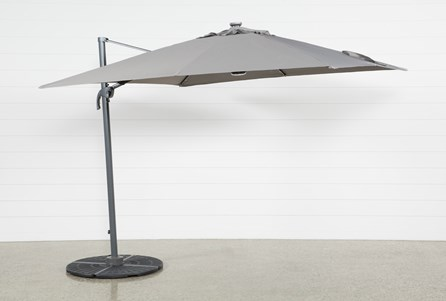 Display product reviews for KIT-OUTDOOR CANTILEVER GREY UMBRELLA WITH LIGHTS AND SPEAKER