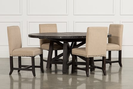 Display product reviews for KIT-JAXON 5 PIECE ROUND DINING SET W/UPHOLSTERED CHAIRS