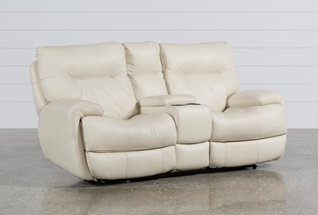 Display product reviews for OLIVER IVORY LEATHER POWER RECLINING LOVESEAT W/CONSOLE