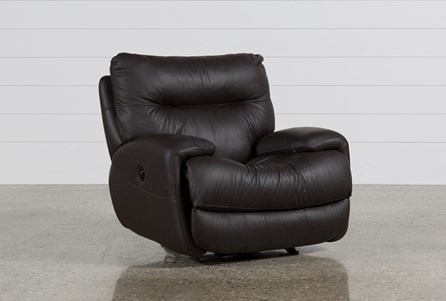 Display product reviews for OLIVER GRAPHITE LEATHER POWER GLIDER RECLINER