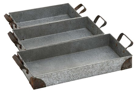 Display product reviews for 3 PIECE SET RECTANGULAR METAL TRAYS
