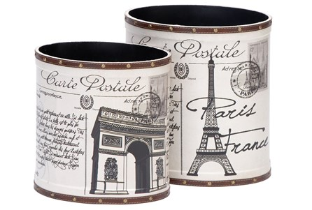 Display product reviews for 2 PIECE SET PARISIAN WOOD & LEATHER CANS