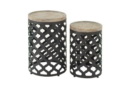 Display product reviews for 2 PIECE SET WOOD & METAL ACCENT TABLE