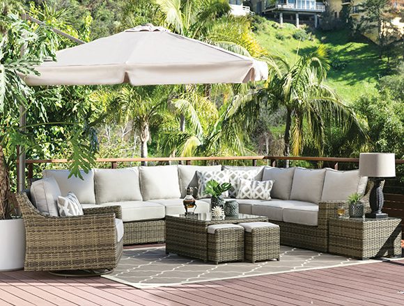 transitional patio backyard with aventura set - Patio Living